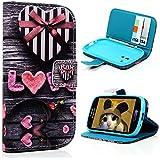 YOKIRIN Blume Pink Flip Cover Leder Tasche Case Schutzhülle für Samsung Galaxy S III S3 I9300 Hülle Handy Tasche Etui Schale mit Standfunktion Kredit Kartenfächer