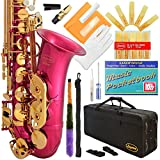 360-PK - Pink/Gold Keys Eb E Flat Alto Saxophone Sax Lazarro+11 Reeds,Music Pocketbook,Case,Care Kit - 24 Colors with Silver or Gold Keys