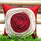Frills And Colours In Geometric Patterns- Red And Beige Cushion Cover