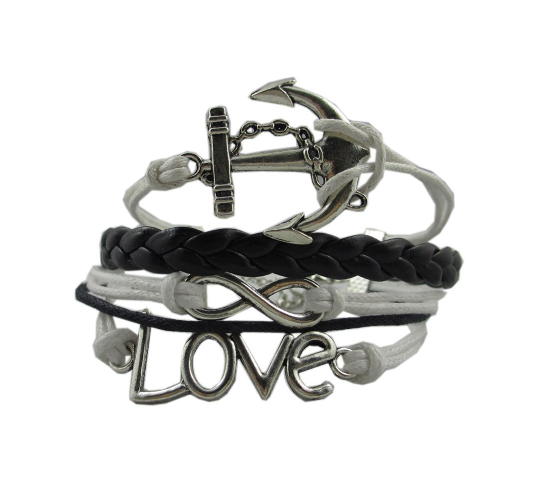 Silver-Infinity-Anchor-Love-Charms-Leather-Rope-Knit-Wrap-Bracelet-White-Black