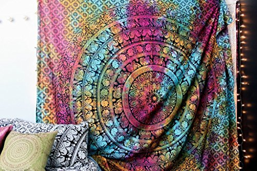 New-launchedPopular-Handicrafts-Twin-tye-dye-Hippie-Elephant-Mandala-Tapestry-Indian-Traditional-Beach-Throw-Wall-Art-College-Dorm-Bohemian-Wall-Hanging-Boho-Twin-Bedspread-By-Popular-Handicrafts