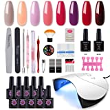 Coscelia Gel Nail Starter Kit with 36W LED Curing Lamp 8 Colors Gel Nail Polish Top and Base Coat Professional Manicure Tool (Color: GDC075)