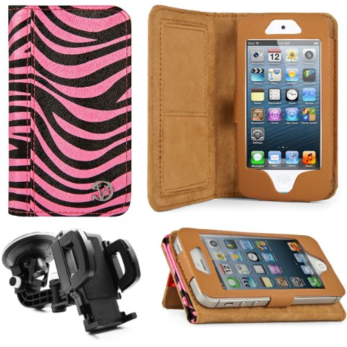 Best Price Black & Pink Zebra Print Design VG Faux Leather Standalone Case for Apple iPhone 5 & Apple iPod Touch 5 (Compatible with All Models) + Mirror Screen Protector+ Universal Windshield Vehicle Mount