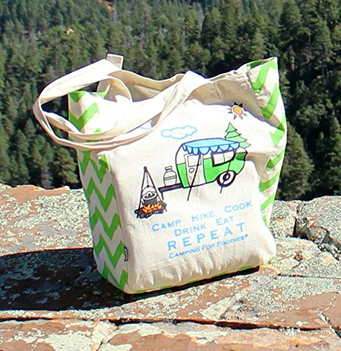 Camping For Foodies Cotton Eco-Friendly Reusable Grocery Tote Bag with Pen Loop made our list of Gifts For Active Women, Gifts For Women Who Hike, Gifts For Women Who Fish, Gifts For Women Who Camp