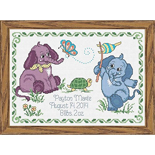 Baby by Herrschners Baby Elephants Birth Record Counted Cross-Stitch Kit