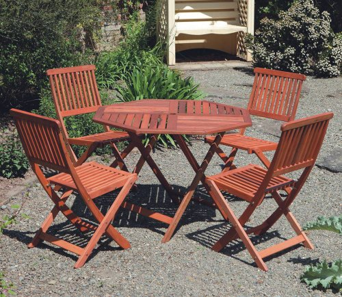 Hardwood Garden Furniture 4 Seat Folding Patio Set Table & Four Chairs Ideal For Outdoor Living and Dining
