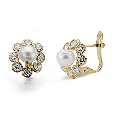 18k gold pearl earrings 11mm zircons. communion [8991P]