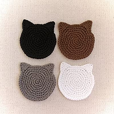 Handmade custom color crochet cat ears coasters (Set of 4)