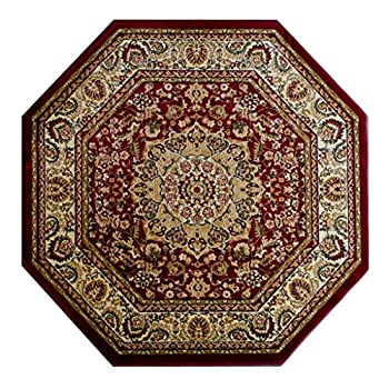 Traditional Octagon Area Rug Design Bellagio 401 Burgundy (7 Feet 3 Inch X 7 Feet 3 Inch) Octagon