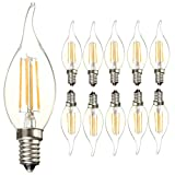 E14 Base LED Light Bulbs 4W C35 Antique Candelabra Filament Candle Lamp Bulb, Energy Saving Warm White 2700K Vintage Style Flame Shape Bent Tip Bulb, 40W Incandescent Bulb Equivalent AC110V (10 Pack) (Color: Warm White, Tamaño: 120*36*36mm)