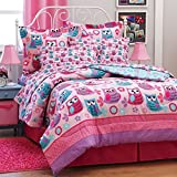 Pink & Purple Girls Nature Owl Full Comforter Set (8 Piece Bed In A Bag)