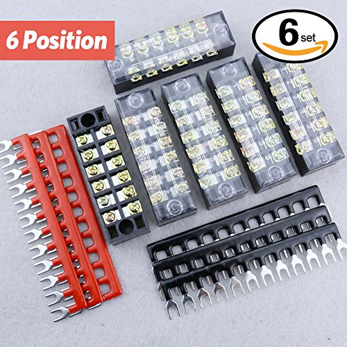 Hilitchi 12pcs 600V 15A 6 Position Double Row Screw Terminal Strip and 400V 10A 12 Postions Red /Black Pre Insulated Terminal Barrier Strip (12 Position Terminal Strip compare prices)