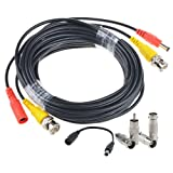 Flashmen 50 ft 1 Pack bnc video power cable security camera wire cord for cctv dvr surveillance system (included 2x BNC to RCA connectors 2x BNC to BNC connectors 1x DC plug adapter) (Color: Black 1 Pack, Tamaño: 50 ft)