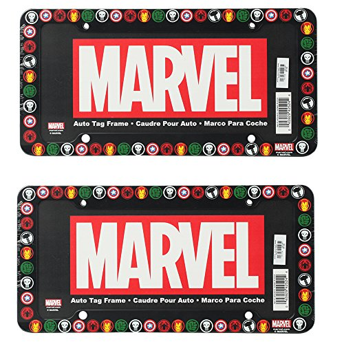 The Punisher Spider-Man Captain America Iron Man and The Incredible Hulk Logos Marvel Comics Auto Car Truck SUV Vehicle Universal-fit License Plate Frame - Plastic - PAIR (License Plate Frame Marvel compare prices)