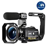 Ordro AC3 4K Camcorder Ultra HD Video Camera(30X Digital Zoom, 3.1 Inch IPS Touch Screen,Infrared Night Vision,Microphone,Wide Lens, Lens Hood)- Black (Color: Black)