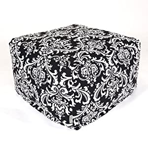 Majestic Home Goods Black and White French Quarter Ottoman, Large