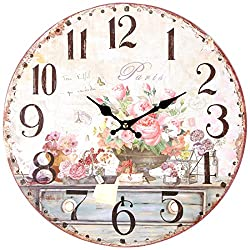 Lily's Home Vintage Inspired French Pink Flowers Wall Clock 13 Inch