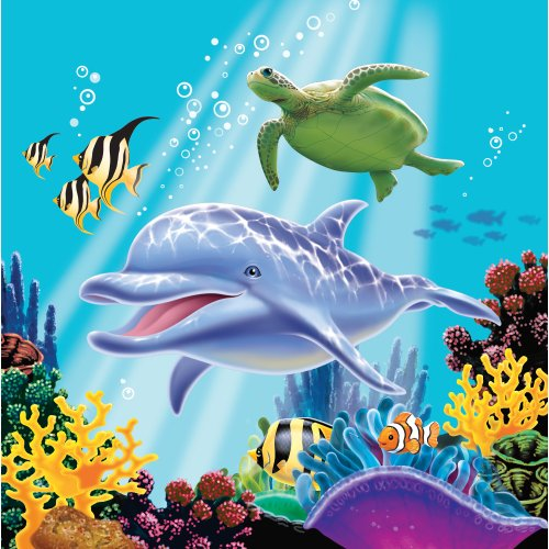 Creative Converting Ocean Party 16 Count 3-Ply Paper Lunch Napkins - 1