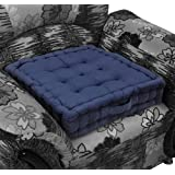 Homescapes Navy Blue Supportive Armchair Booster Cushion with Breathable Luxury Soft to Touch 100% Cotton Velvet Coverby Homescapes