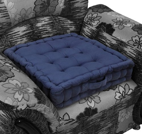 Homescapes Navy Blue Supportive Armchair Booster Cushion with Breathable Luxury Soft to Touch 100% Cotton Velvet Cover