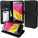 BLU Dash 5.0 D410a Case, Abacus24-7 BLU Dash 5.0 Case Wallet with Flip Cover, Stand and Pockets - Black BLU D410a Flip Case