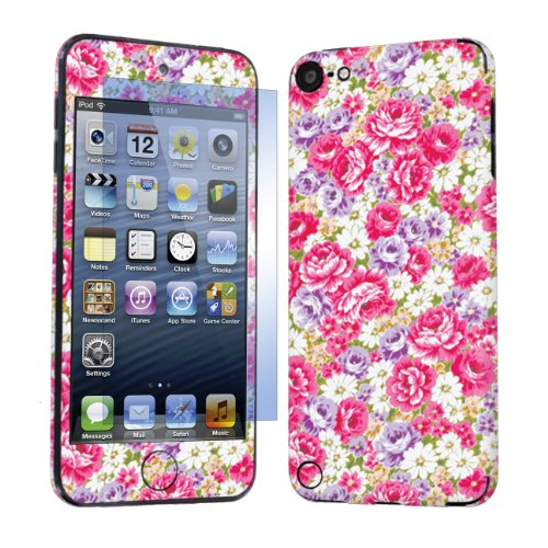 Apple iPod Touch 5 ( 5th Generation ) Decal Sticker Vinyl Skin + Screen Protector By SkinGuardz - Muti Pink Floral
