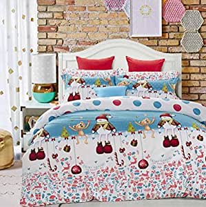 andreannie king size bedding sets christmas snowman and animals soft sanding. Black Bedroom Furniture Sets. Home Design Ideas