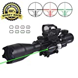 AR15 Tactical Rifle Scopes 4-12X50EG Dual Ill Optical Reticle Scope with Holographic Unlimted R&G Dot Sight 22&11mm Weaver/Picatinny Mount(24 Month Warranty) (C4-16x50EG+HD104+JG13(green)) (Color: C4-16x50EG+HD104+JG13(green))