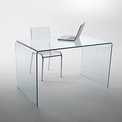 Mod. Large escritorio de cristal curvado