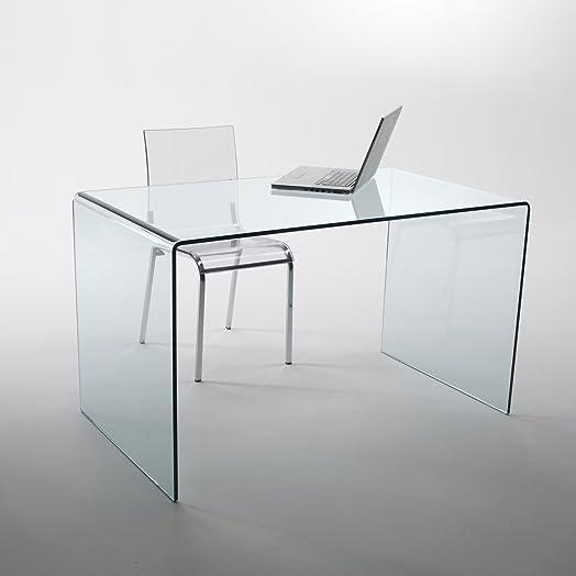 Mod. Large scrivania da ufficio in vetro curvo