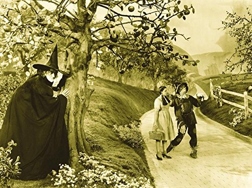 [The Wizard of Oz 1939 16x12 Movie Art Print Poster Photograph Wicked Witch Dorothy and Scarecrow on Yellow Brick] (Tin Man On Wizard Of Oz)