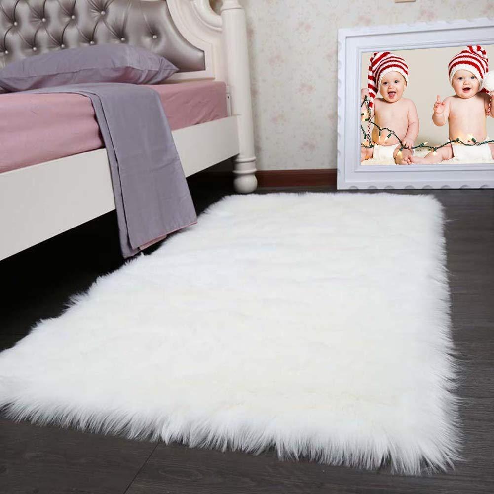 Pinkday Faux Sheepskin Area Rug Classic Rectangle Sheepskin Area Rug Plush Premium Shag Faux Fur Shag Runner (3x5 feet)