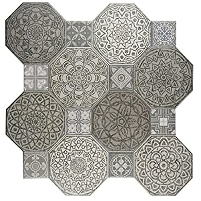"SomerTile FCG18IMD Imogen Ceramic Floor and Wall Tile, 17.75"" x 17.75"", Grey/White"