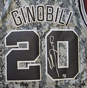 Manu Ginobili San Antonio Spurs Autographed USMC Camo #20 Jersey by Sports-Autographs