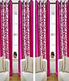 Shiv Fabs Floral Door Curtain (Pack Of 4) - Pink
