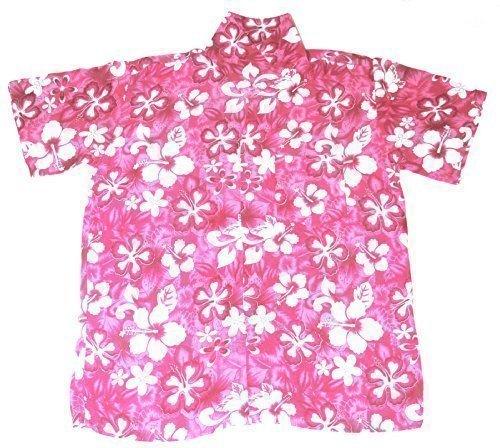 Happy Hawaiian Hut - Kinder Hemd Hawaii Blumen Motiv Jungen Mädchen - Rosa, L 7-8 Jahre