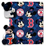 MLB Boston Red Sox Mickey Mouse Pillow with Fleece Throw Blanket Set