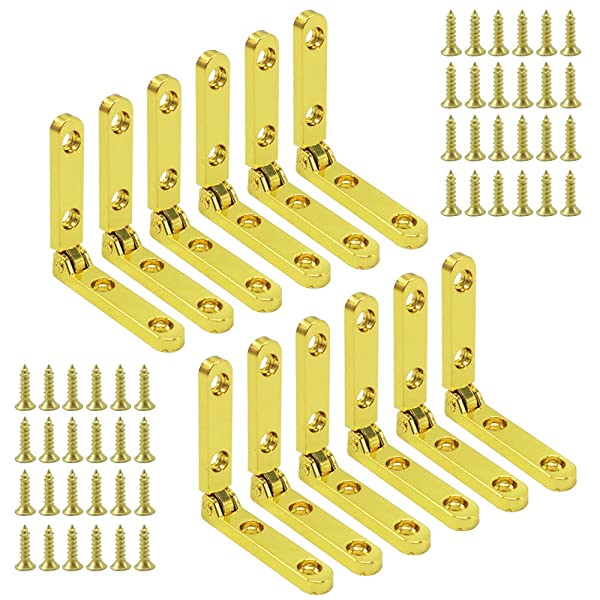 Alamic Mini Hinges for Wood Box Jewelry Box 90 Degree Golden Box Hinge Jewelry Box Hinge with Screws - 12 Pack (Color: Golden_12 Pack)