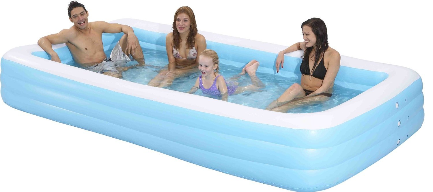 Family Kiddie Pool – Giant Inflatable Rectangular Pool – 12 Feet Long (144″x76″x22″) $39.95