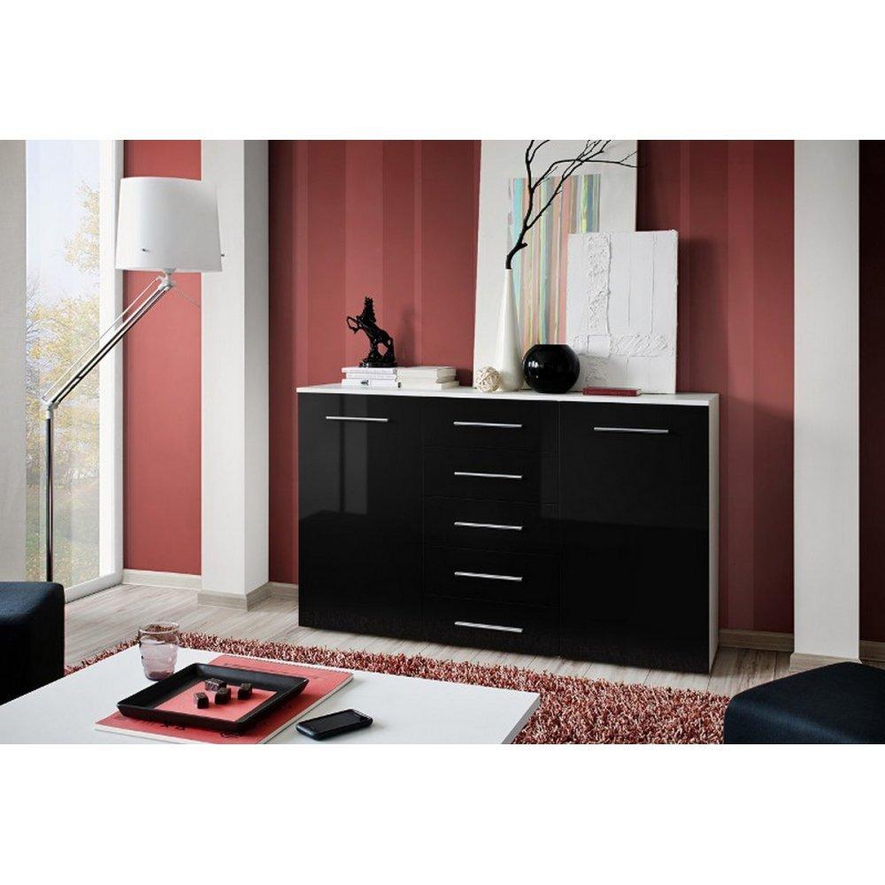 JUSThome Foxa IV Kommode Sideboard Wohnzimmerschrank (HxBxT): 103x150x40 cm Farbe: Weiß Matt / Schwarz Hochglanz