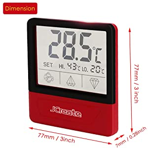 jcreate Fish Tank Thermometer, Touch Screen Digital Aquarium Thermometer with LCD Display, Stick-on Temperature Sensor ensures Optimum Temperature in Terrarium, for Your pet Amphibians and Reptiles (Color: Red)