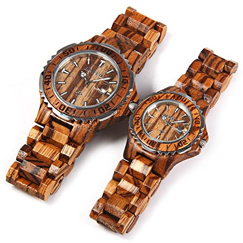 Bewell BEWELL ZS-100B Couple Quartz Watch 30M Water Resistance Date Display(ZEBRAWOOD)