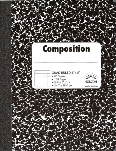 Norcom Quad Composition Book, 9.75 x 7.5 Inches, 5 x 5 Quad, 80 Sheets (76038-12) (Norcom Inc Notebook compare prices)