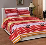 Soni Traders Red & Pink Designer Pure Cotton Double Bedsheet With Pillow Cover- Bedsheet- 90 Inches X 90 Inches; Pillow Cover- 16 Inches X 27 Inches