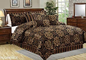 Chezmoi Collection 7-piece Jacquard Medallion Comforter Bedding Set (California King)