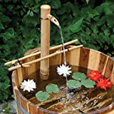 Bamboo Accents 24 Inch Adjustable Natural Bamboo Fountain and Pump Kit for Use with Any Container. Split Resistant, Handmade, Indoor Outdoor (Color: Natural, Tamaño: X Large)