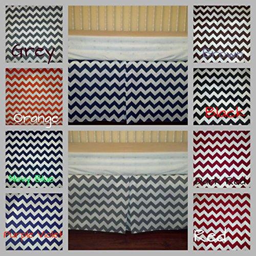 Sheetworld - Crib Skirt (28 X 52) - Black Chevron Zigzag - Made In Usa