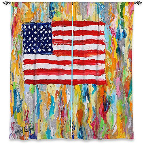 Window Curtains Lined from DiaNoche Designs Artistic, Stylish, Unique, Decorative, Fun, Funky, Cool by Karen Tarlton American Flag