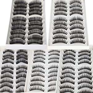 50 Pairs of Black Long Thick Reusable False Eyelashes Fake Eye Lash for Makeup Cosmetic - 5 Kinds of Style