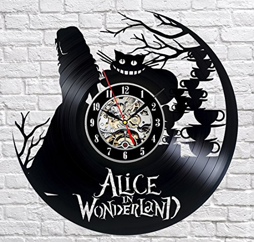 Alice In Wonderland Vinyl Record Wall Clock - Decorate your home with Modern Large Disney Art - Gift for kids, girls and boys - Win a prize for a feedback (Old School Door Knobs compare prices)